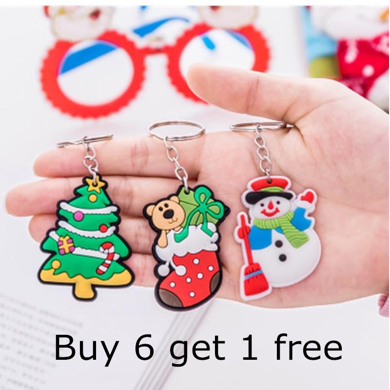 Cute Christmaas Gift Keychain Jewelry Children's gift Cartoon Santa Claus Snowman Deer Christmas Tree Charm Key chian carkeyring christmas fireplace tree santa claus waterproof shower curtain