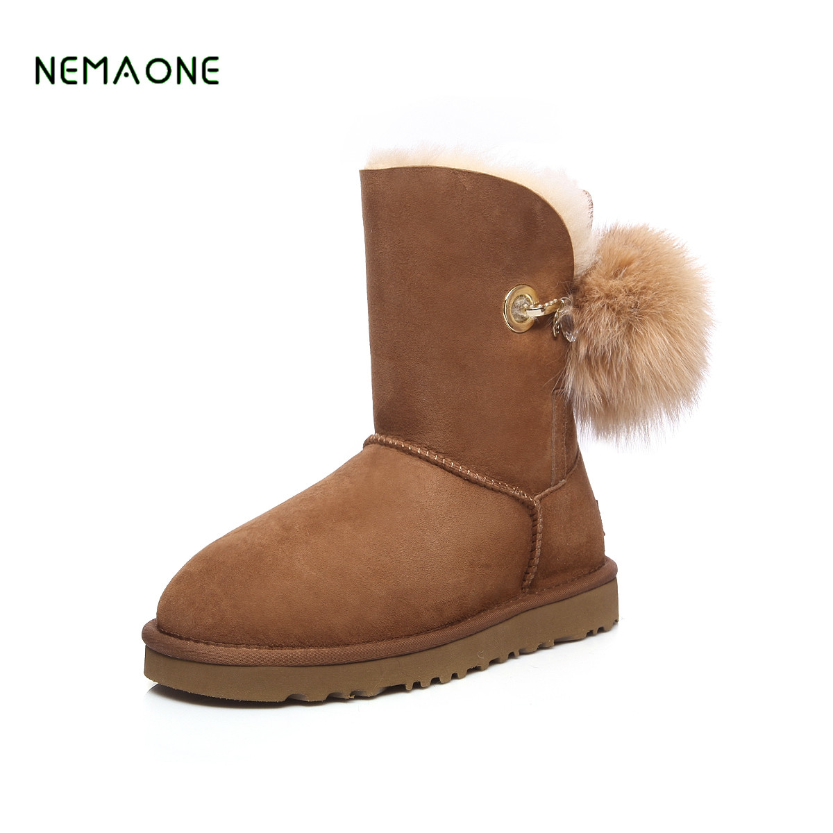 NEMAONE 2017 Genuine Leather Snow Boots Winter Shoes for Women New Arrival 100% Real Fur Classic Mujer Botas Waterproof high quality black laser toner powder for hp ce285 cc364 p 1102 1102w m 1132 1212 1214 1217 4015 4515 free shipping by dhl fedex