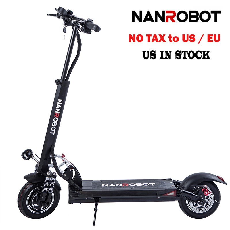 NanRobot D5+ Adult Electric Scooter 10'' Foldable Lightweight 2000W 52V 26AH Top Speed 40 MPH 40 Miles Range 2 Wheel kick