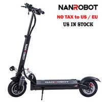 NanRobot D5+ Adult Electric Scooter 10'' Foldable Lightweight 2000W 52V 26AH Top Speed 40 MPH 40 Miles Range 2 Wheel kick
