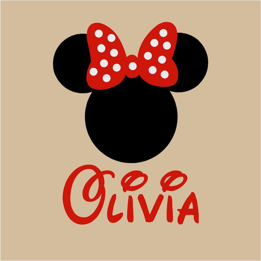 Personalized minnie mouse with bow design vinyl wall decalsgirls personalized minnie mouse with bow design vinyl wall decalsgirls name wall stickers for kids bedroom decor in wall stickers from home garden on amipublicfo Image collections