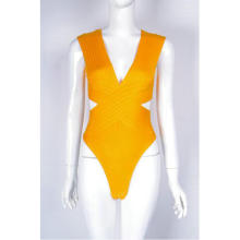 swtao Women Summer SexyV Neck White Orange Bandage Bodysuit Beach Bodycon