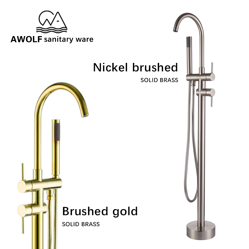 Bathroom Bathtub Faucet Standing Tap Full Solid Brass Mixer Shower Nickel Brushed Gold Matte Black Chrome
