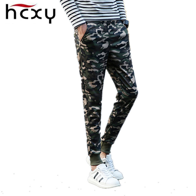 2016 HCXY осень армия мода висит промежность jogger брюки лоскутное шаровары мужчины промежность большие Камуфляжные штаны брюки