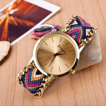 2016 New Fashion casual Watch Women Dress Watches national manual Weave Gold Bracelet Quartz Wristwatch montre femme