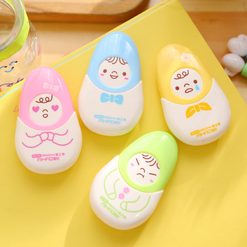 Coloffice Creative Cute Emotions Correction Tape 6m Students Stationary Kawaii Adhensive Tapes  School Office Supplies Random