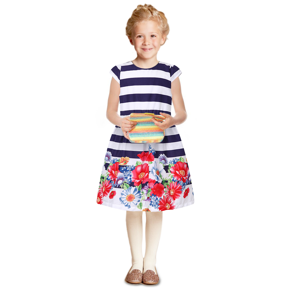 Kids Dress Elsa Costume 2017 Brand Toddler Girls Summer Dresses Striped Robe Fille Children Flower Princess Dress Girl Clothes  hssczl girls dress summer 2017 brand kids print floral sleeveless toddler girl children dress flowers fille costume clothes