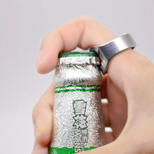 Ring-shape beer opener bar finger stainless bottle ring steel tool for