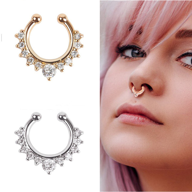 ES165 Crystal Piercing Nose Ring Hoop For Women Clip Body ...