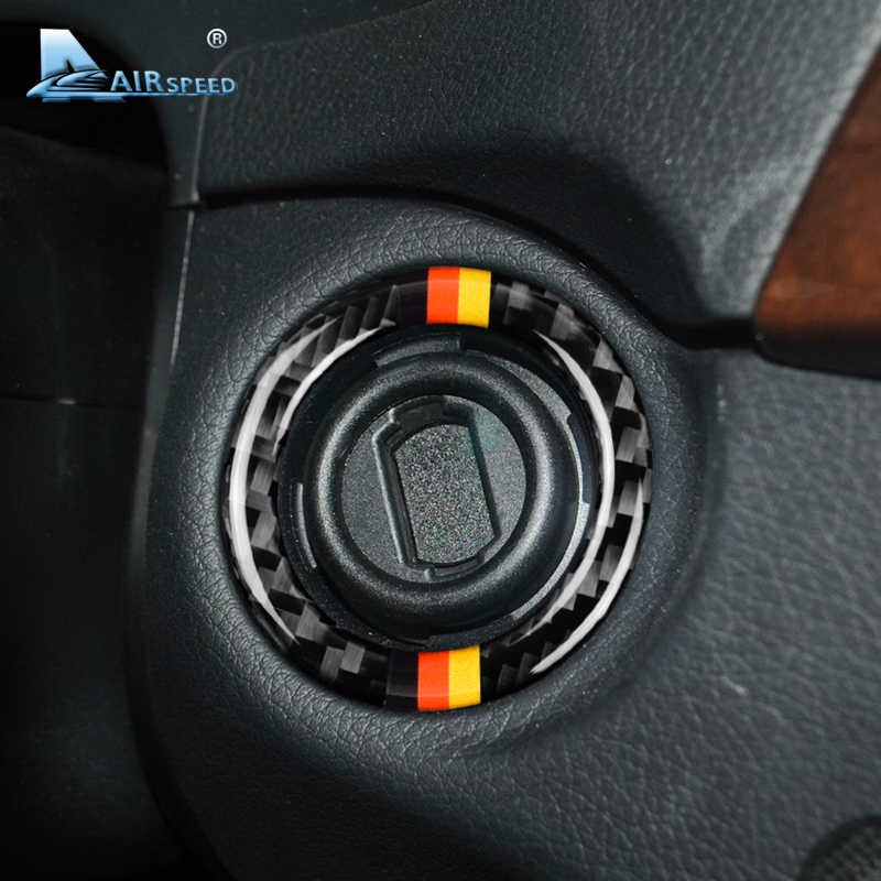 Airspeed for Mercedes Benz C Class W204 Accessories 2011-2014 Carbon Fiber Ignition Engine Start Button Cover Trim Car Interior
