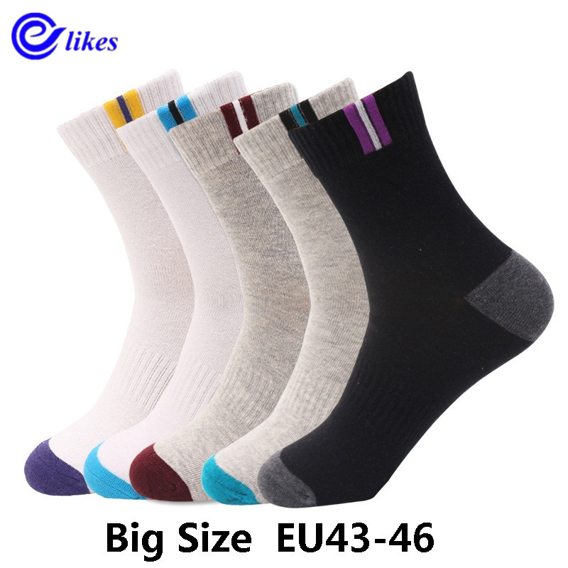 5 pairs mens cotton dress   socks   plus large big size EU 43, 44, 45, 46 US10-13 business dress   socks   calcetines man men's sox