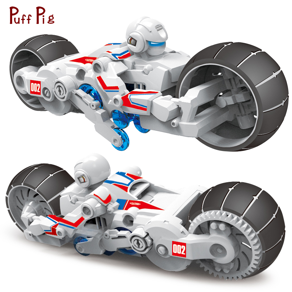New DIY Brine Power Self-assembled Motorcycle Building Blocks Science And Technology Bricks Sets Toys For Children Birthday Gift solar electronic building blocks children s electrical science and education diy toys christmas gift