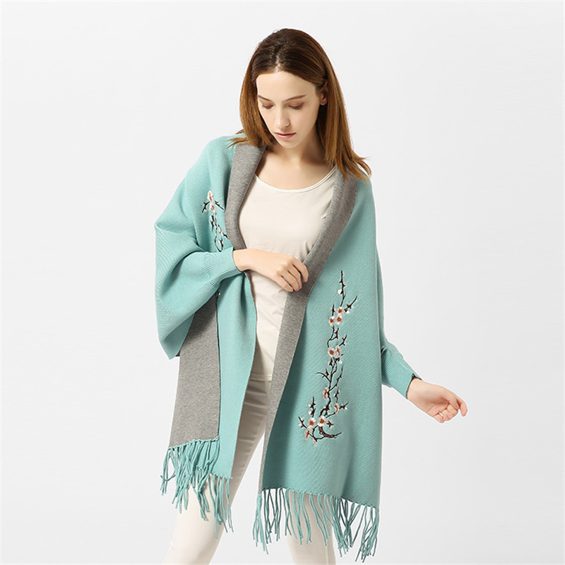 High Quality Women s Poncho Capes With Sleeves Winter Plum Embroidery Tassel Cardigan Lady Scarf Wrap