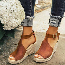 Faux Suede Women Wedge Sandals Size 43 Platform Buckle Strap Wedges Rome Hollow Out Peep Toe High Heels Drop shipping XWZ6065 prova perfetto new rome wedges sandals women rivet t strap high heels sandals real leather ankle buckle peep toe ladies sandals