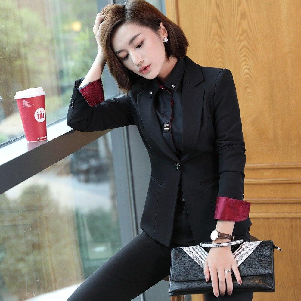 Pièce blackskirt Mince Jupes Suit Blazer 2pcs Style Costumes Pantalon Costume Ensembles Élégant 2pcs Black Lady Femmes Pant Office Nouveau À Ou Coréen 2 S85407x Manches 2018 Longues 8zn4xE8