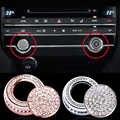 Accesorios de estilo de coche 2 uds. Botón de arranque de coche de decoración de diamante + cubierta de ajuste de botón de audio para Jaguar F-PACE 2016-2019