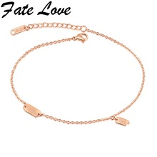 Fate Love Bohemia Anklets Rose Gold Color Good Luck Brand Foot Anklet Summer Woman Barefoot Chain Jewelry Drop Shipping GZ025