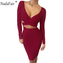 Long Sleeve Elastic Cotton Bandage Dress
