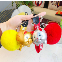 Cartoon Fluffy Rabbit Fur Pom Pom Cute Animal Love Pig Keychain Doll Bell Pompons Key Ring Women Car Purse Key Chain Pendant недорого
