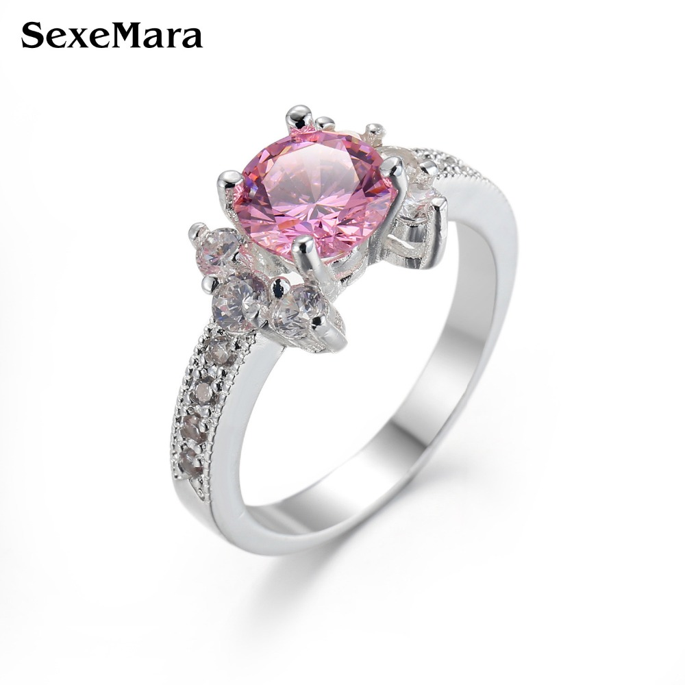 Female Purple blue pink cz Ring Fashion Sterling-silver-Jewelry Promise Engagement Rings For Women Birthday Stone Gifts