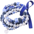 MetJakt Natural Gemstone Mix Sodalite+Pearl+Agate+Lapis 5pcs Handmade Elastic Bracelet with Double Happiness Charm 18-19cm