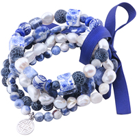 MetJakt Natural Gemstone Mix Sodalite+Pearl+Agate+Lapis 5pcs Handmade Elastic Bracelet with Double Happiness Charm 18 19cm