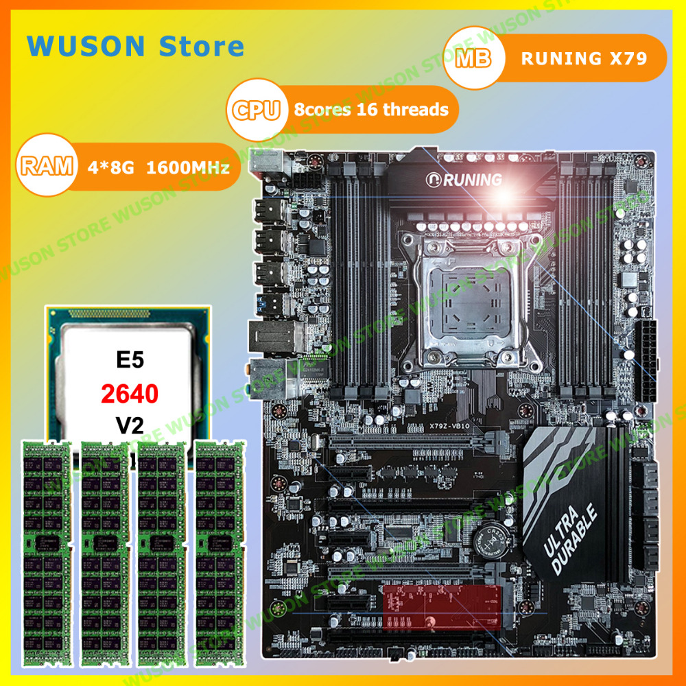 Computer hardware Runing Super ATX X79 gaming PC motherboard with CPU Intel Xeon <font><b>E5</b></font> <font><b>2640</b></font> <font><b>V2</b></font> 2.0GHz RAM 4*8G 1600MHz DDR3 RECC image