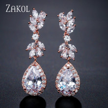 купить ZAKOL White Color Flower Shape Zircon Water Drop Crystal Pendant Drop Earrings For Bridal Wedding Jewelry Accessories FSEP2226 в интернет-магазине