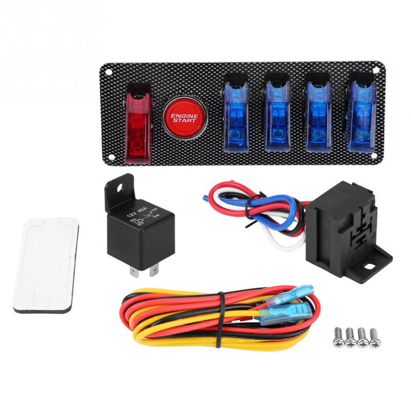 6 in 1 Racing Car Auto Ignition Switch Panel Engine Start Button Control Kit 12V