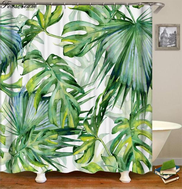 Tropical Shower Curtains Green Curtain Bath Fabric For Bathroom Waterproof Home