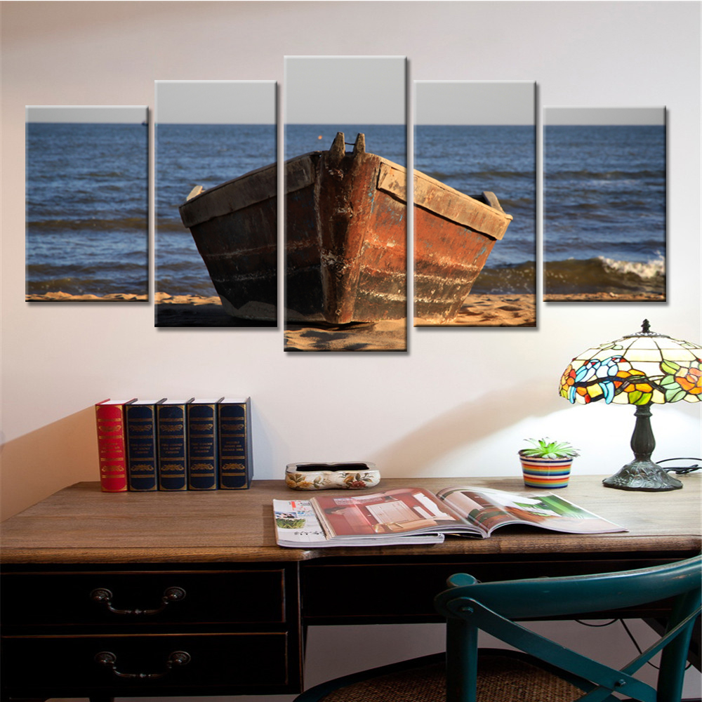 5 Panel Holz Boot Leinwand Malerei Meer Landschaft Wohnkultur Wand ...