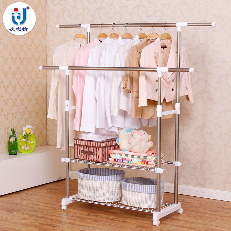 Balcony Landing Style Thick Hanging Racks Double Rod Stainless Steel