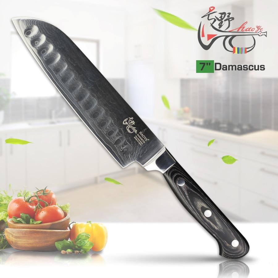 HAOYE 7inch Damascus Santoku nůž Japonsko vg10 ocelové kuchyňské - Kuchyně, jídelna a bar