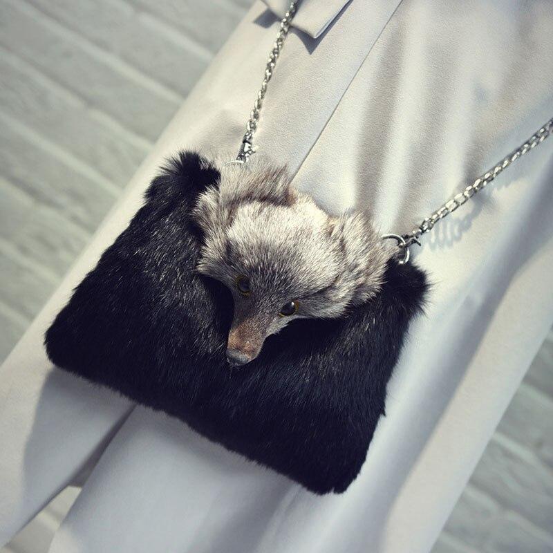 Rabbit Fur Women Handbags Winter Shoulder Bag Real Fur Handbag lady Messenger Bag fox Shoulder