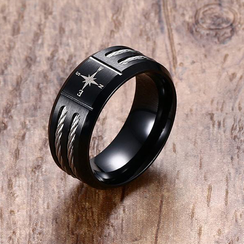 Mens Cable Rings In Black Titanium Steel Wedding Band With Stainless Cables Inlay Compass Symbol Engraved Ring Men Jewelry From