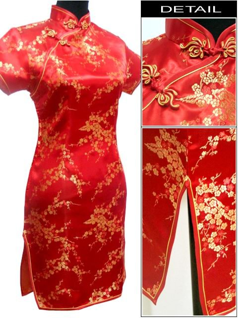 b24b42a9f PLUS SIZE 1x 2x 3x / UK 18 22 26 Chinese dress PARTY cocktail Womens dress  YDM004 RED brocade satin