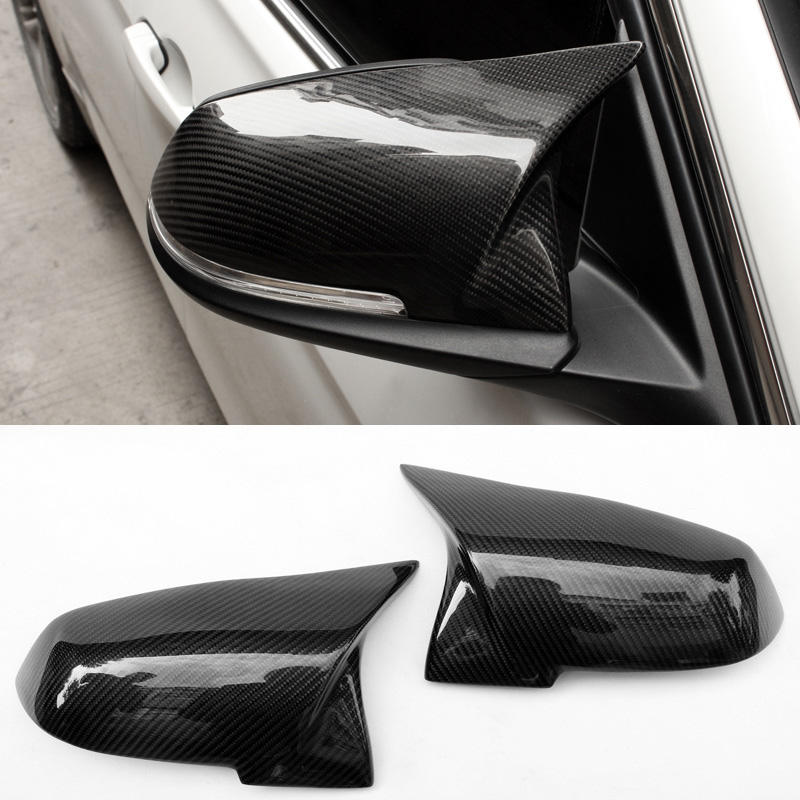 New Horn tip Style Carbon fiber Wing Replacement Rearview mirror cover Fit For BMW F20 F30 F22 F32 f30 f21 carbon fiber replacement rearview door side wing mirror cover cpas for bmw f31 gt f34 f20 f21 f23 f32 f33 f36 x1 e84