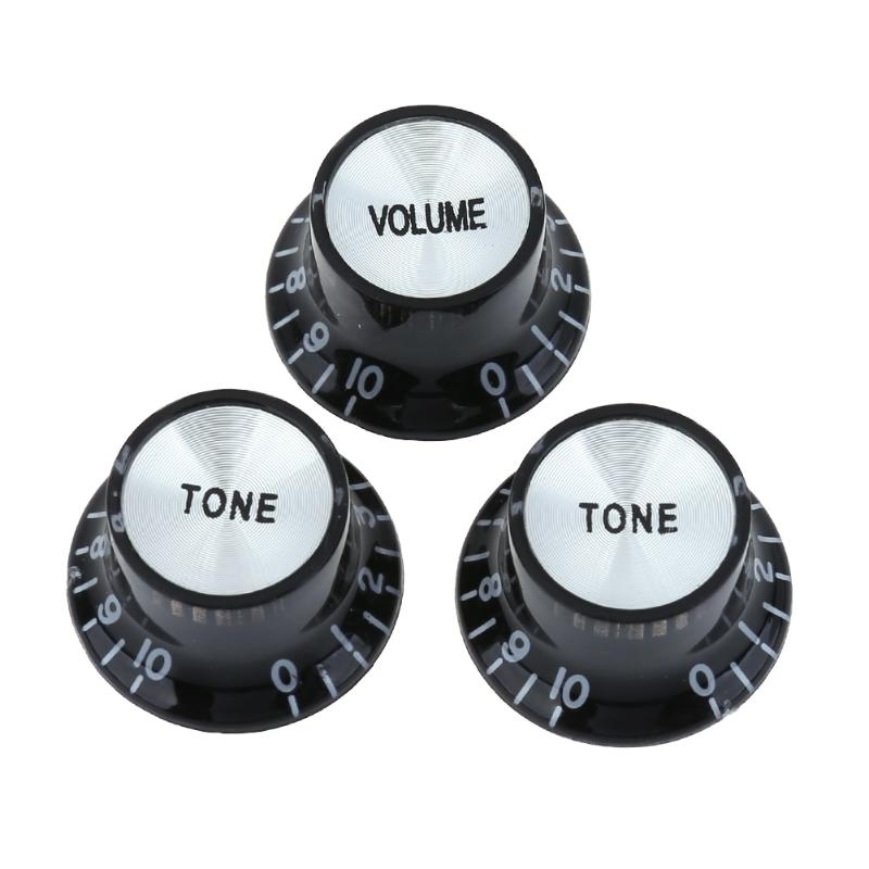 3PCS/lot Black Acrylic Electric Guitar Bass Volume Rotary Knob Potentiometer Caps for Potentiometers with 6mm hole Guitar Parts
