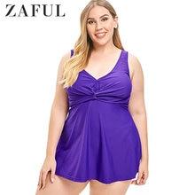 17f138883f3a ZAFUL Plus Size Swimwear Sexy Swimsuit Twist Front Tankini Padded Bathing  Suit Dress Bikini Set Tank Top Dress Beachwear Set