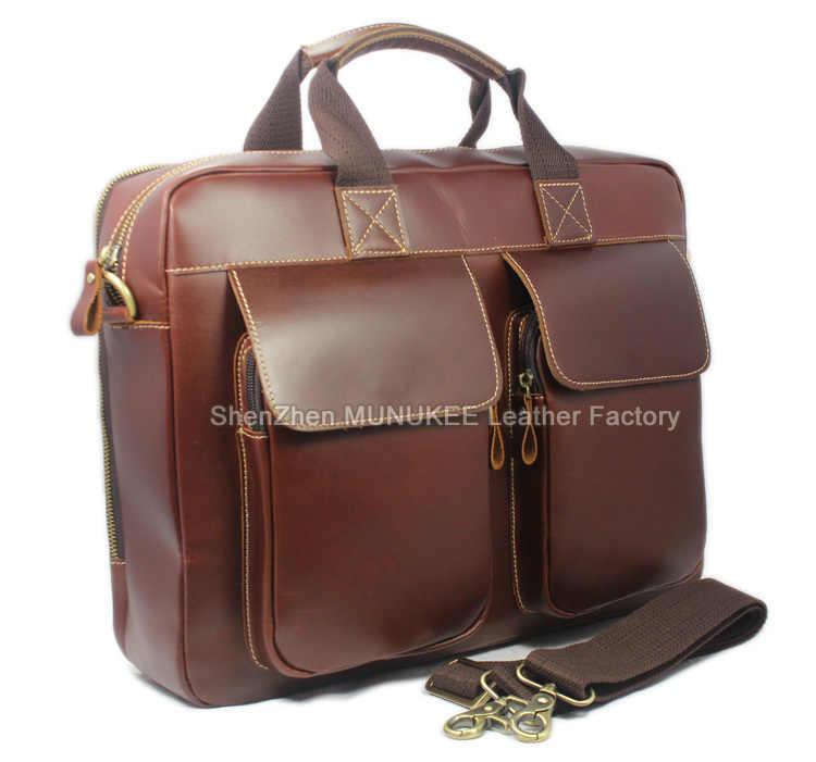 2016 Luxury Genuine Leather Men Briefcase Business Bag real Leather Briefcase Men Laptop Bag Brief case porte document Handbag