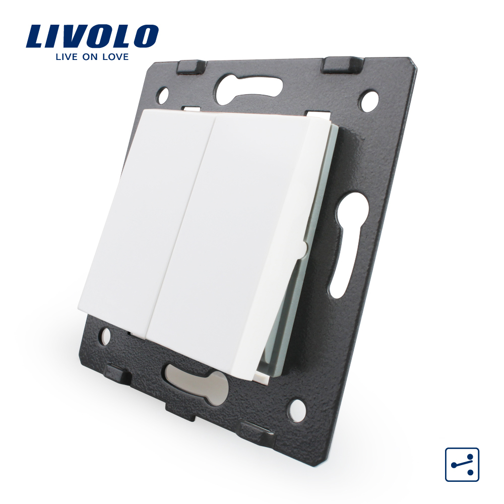 Free Shipping, Livolo White Plastic Materials, EU  Standard, 2 Gang 2 Way Function Key For Wall Push Button Switch,VL-C7-K2S-11