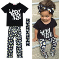 Summer Letter Floral Daisy Printed Toddler Baby Girl Clothes Set Outfit+Headband
