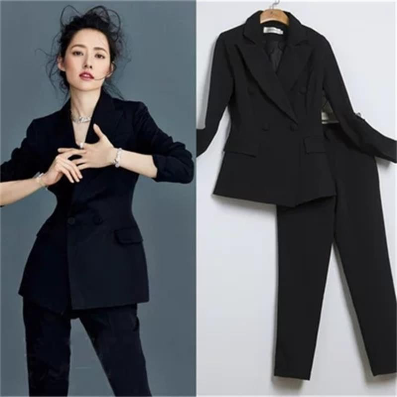Fashion Casual Suit Suit Female New British Wind Double-breasted Professional Slim Fashion Small Suit Women SizeXS-2XL