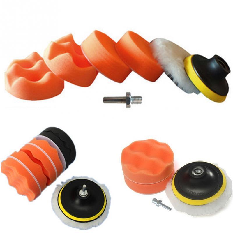 New 6Pcs/lot Car Polishing Tools Kits Set 3 Inch Buffing Pad Kit Compound Polishing Auto Cars Detail Drill Adapter