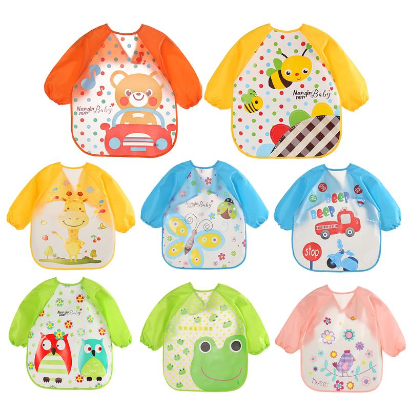 Lovely Cartoon Baby Feeding Long Sleeve Art Apron Animal Bibs Waterproof Unisex Burp Clothes Eat Toddler Waterproof Baberos