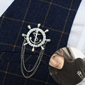Navy wind high - end chain fringed rudder men 's women' s brooch Japan and South Korea version of the influx of retro suit badg