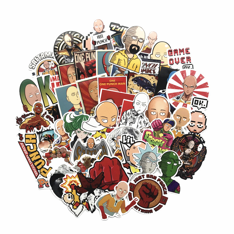 2019 NEW 50PCS ONE PUNCH-MAN Stickers For Snowboard Laptop Luggage Car Fridge DIY Styling Vinyl Home Decor Pegatina