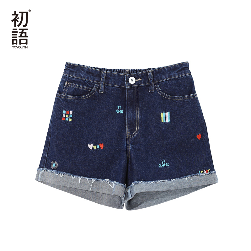 Toyouth Vintage Denim Shorts For Women Summer 2019 High Waist Shorts Jeans Casual Embroidery Printed  Mini Hot Short With Pocket