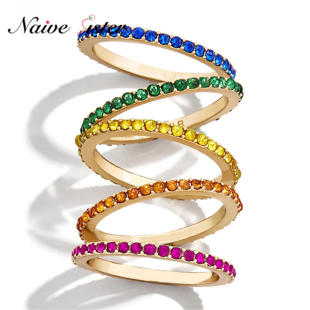 5 Colors Girls Stackable Rainbow Ring Women