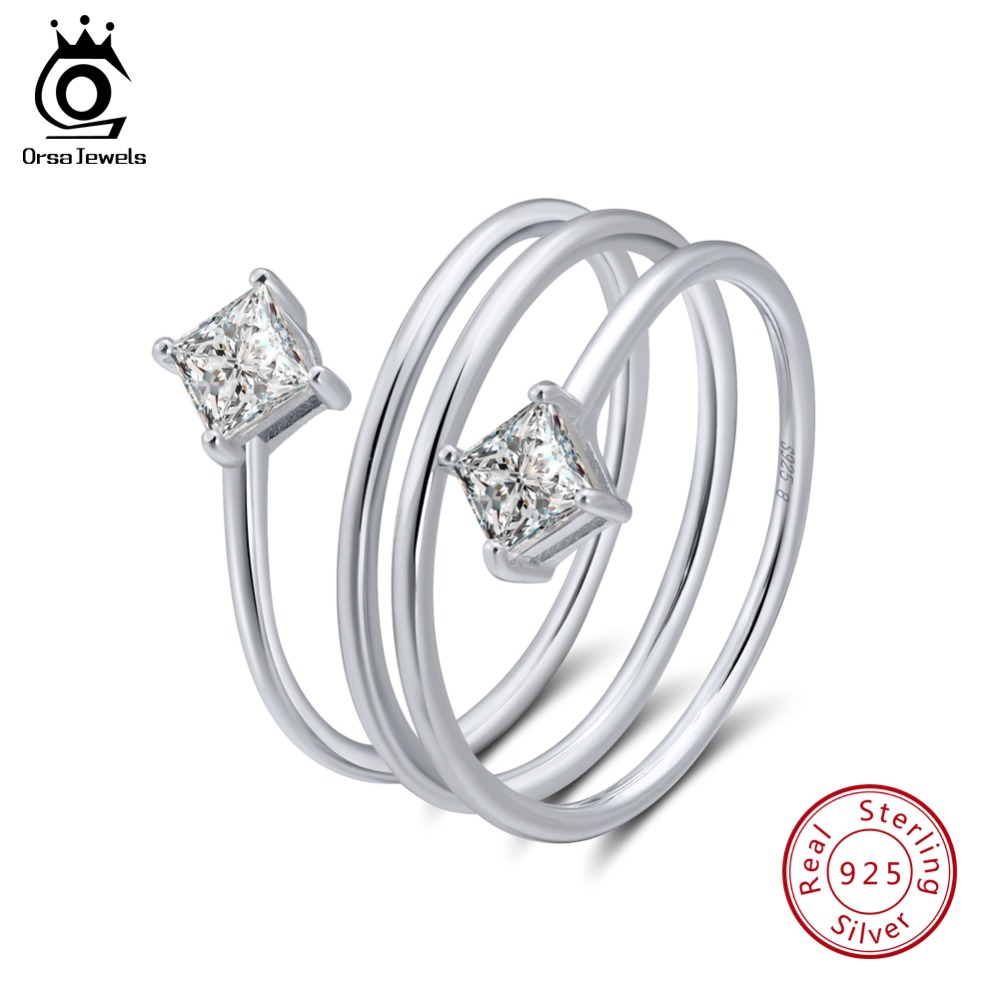 ORSA JEWELS Real 925 Sterling Silver Female Rings Unique Design AAA Clear Zircon Women Ring Jewelry For Girlfriend Gift OSR61